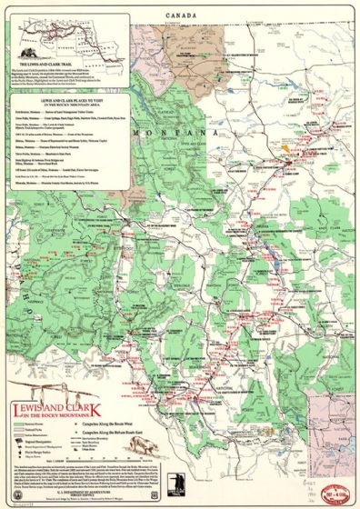 Map Of Lewis and Clark in Rocky Mountains. Print/Poster (4829)